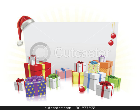 Christmas presents and sign concept stock vector clipart, Christmas sign and gifts background with copyspace for your message by Christos Georghiou