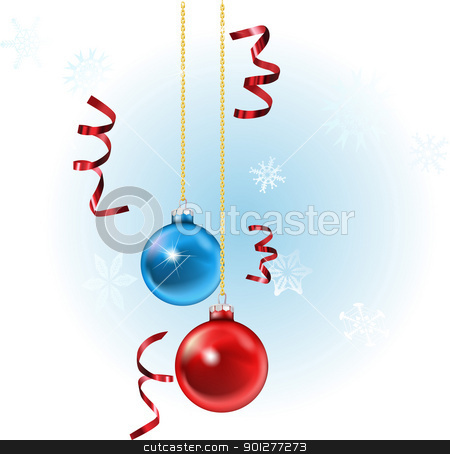 Xmas baubles and streamers stock vector clipart, illustration of christmas baubles and streamers, with snowflakes in the background by Christos Georghiou