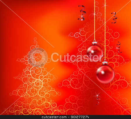 red christmas background stock vector clipart, beautiful christmas inspired design in red by Christos Georghiou