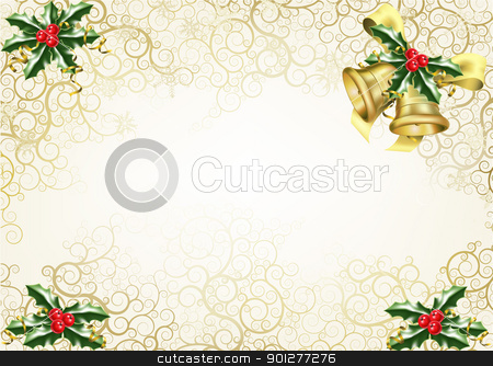 holly and bells christmas background stock vector clipart, beautiful abstract Christmas background concept with holly and bells by Christos Georghiou