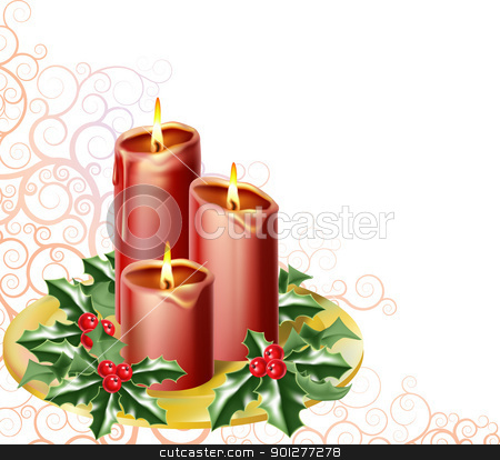 christmas candles stock vector clipart, christmas candles and holly with an abstract festive background by Christos Georghiou