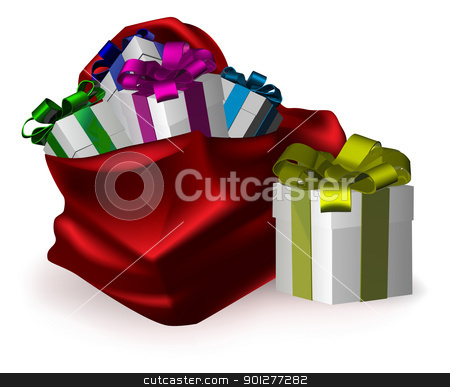 presents for everyone stock vector clipart, an illustration of gifts bursting from a festive red sack by Christos Georghiou