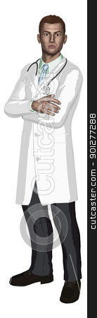 Doctor illustration stock vector clipart, Illustration of a young doctor with stethoscope in a white coat by Christos Georghiou