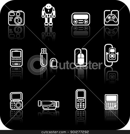 gadget icon set stock vector clipart, A set of white gadget icons on black background  by Christos Georghiou
