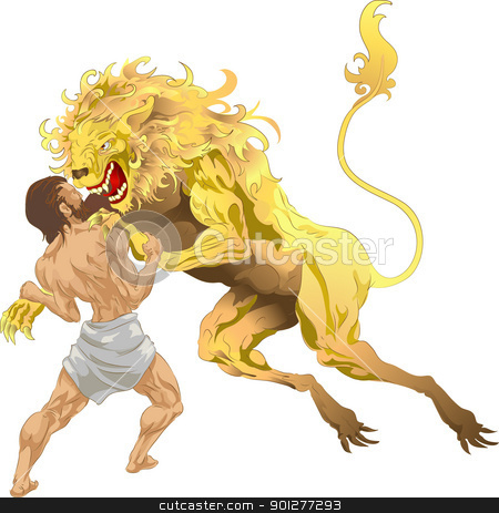 Hercules and the lion stock vector clipart, Hercules (Heracles, Herakles) from classical mythology fighting the Nemean lion, the first of his labours. No meshes used.  by Christos Georghiou