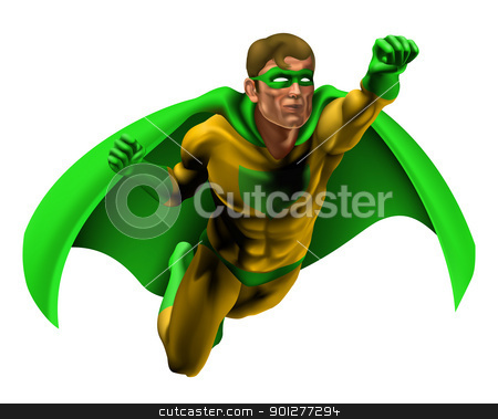 Amazing Superhero Illustration stock vector clipart, Illustration of an amazing superhero dressed in yellow and green costume with cape flying through the air by Christos Georghiou