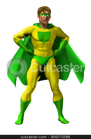Amazing Superhero Illustration stock vector clipart, Illustration of an amazing superhero dressed in yellow and green costume with cape standing with hands on hip by Christos Georghiou