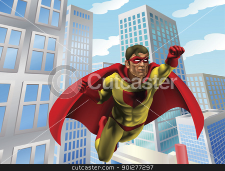 Superhero flying through city stock vector clipart, Caped super hero flying through the air in a city scene by Christos Georghiou
