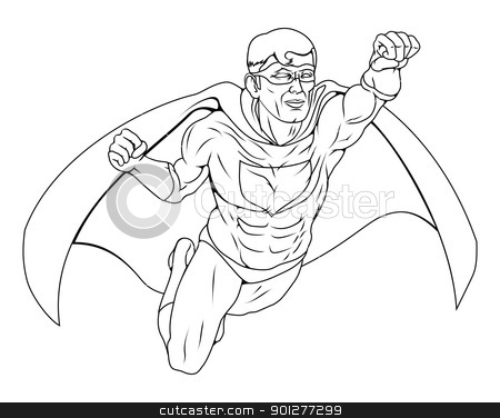 Monochrome Superhero Illustration stock vector clipart, Monochrome illustration of  a super hero man dressed costume with cape flying through the air by Christos Georghiou