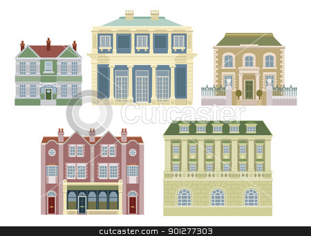 Luxury old fashioned houses buildings stock vector clipart, Smart expensive luxury old fashioned houses and other buildings. by Christos Georghiou