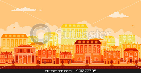 Urban avenue scene with smart townhouses stock vector clipart, An urban tree lined avenue with smart townhouses in oranges, yellows and reds by Christos Georghiou