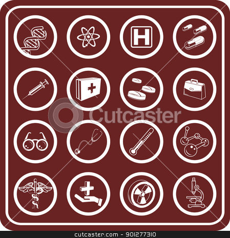 Medical icon set stock vector clipart, Medical and scientific icons.  by Christos Georghiou