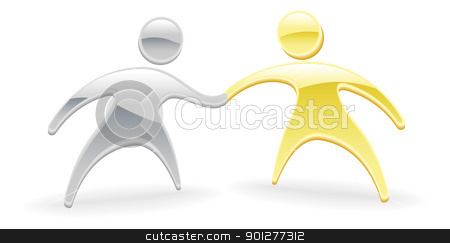 Metallic character handshake concept stock vector clipart, Metallic cartoon mascot character handshake concept by Christos Georghiou