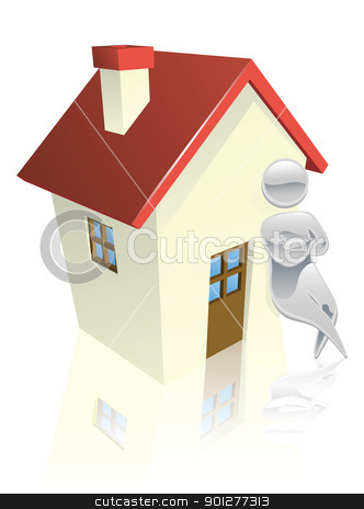 Metallic character leaning on house stock vector clipart, Metallic cartoon mascot character house concept by Christos Georghiou