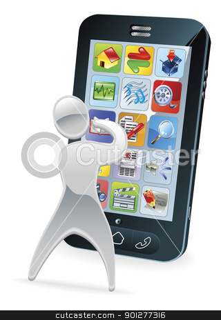 Metallic cartoon character phone concept stock vector clipart, Metallic cartoon mascot character phone concept by Christos Georghiou
