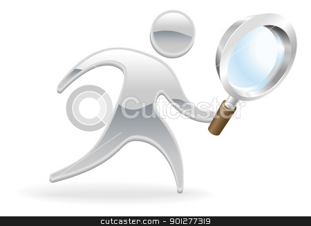 Metallic character magnifying glass concept stock vector clipart, Metallic cartoon mascot character magnifying glass search concept by Christos Georghiou