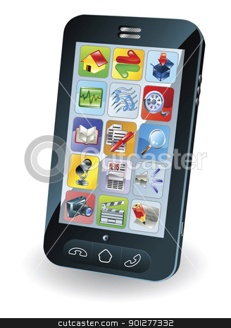 New smart mobile phone stock vector clipart, Illustration of a new smart mobile phone by Christos Georghiou
