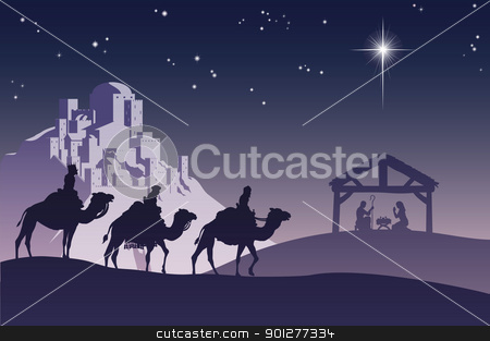 Christian Christmas Nativity Scene stock vector clipart, Illustration of traditional Christian Christmas Nativity scene with the three wise men going to meet baby Jesus in the manger. by Christos Georghiou