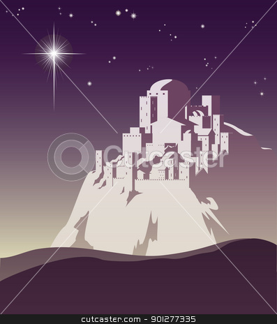 Star over Bethlehem stock vector clipart, Illustration of Christmas star over Bethlehem announcing the birth of Jesus by Christos Georghiou