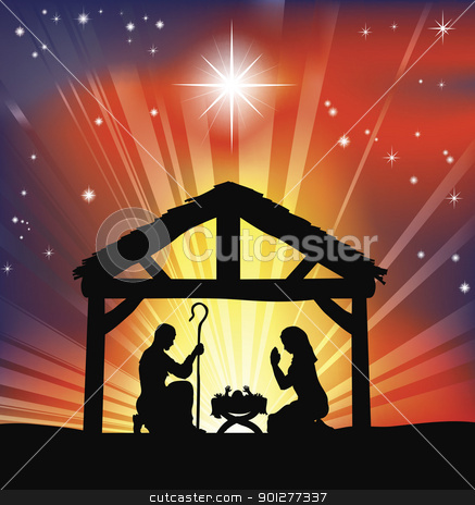 Traditional Christian Christmas Nativity Scene stock vector clipart, Illustration of traditional Christian Christmas Nativity scene  by Christos Georghiou