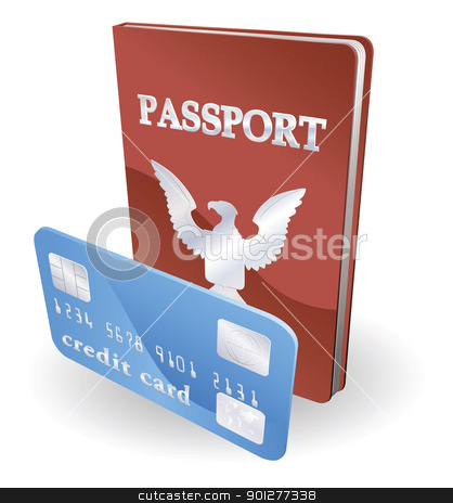 Passport and credit card illustration. Personal identity concept stock vector clipart, Passport and credit card illustration. Personal identity concept. by Christos Georghiou