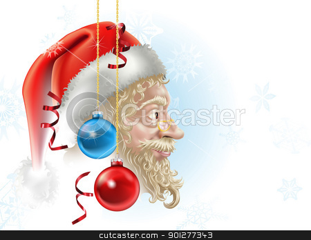 santa christmas illustration stock vector clipart, illustration of santa in profile with christmas baubles and streamers, a perfect christmas picture! by Christos Georghiou