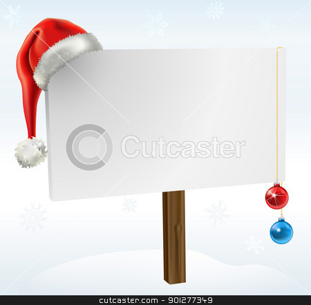 a christmas sign stock vector clipart, an illustration of a blank winter sign, with copy space for you to place your text on. Featuring a santas hat, snow flakes and christmas baubles.  by Christos Georghiou