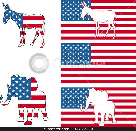 USA political party symbols stock vector clipart, The democrat and republican symbols of a donkey and elephant and American flag.  by Christos Georghiou
