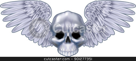winged skull  illustration stock vector clipart, An illustration of a winged metallic skull design element  by Christos Georghiou