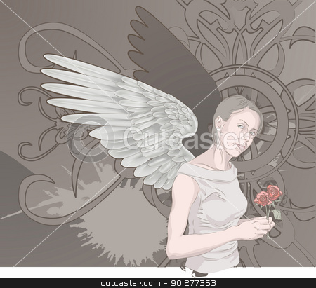 grunge background stock vector clipart, A beautiful winged woman holding roses on a grunge background. Layers used for easy editing  by Christos Georghiou