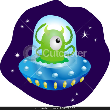 Alien in spaceship stock vector clipart, A cute little alien in his flying saucer  by Christos Georghiou