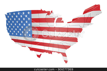 USA map and flag stock vector clipart, illustration of the american flag as the map of the USA by Christos Georghiou