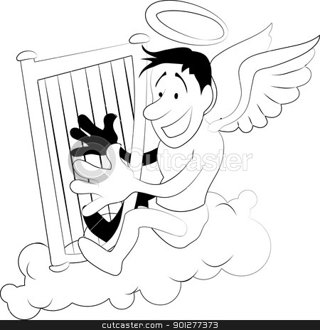 angel with harp illustration stock vector clipart, An illustration of an angel playing harp on a cloud  by Christos Georghiou