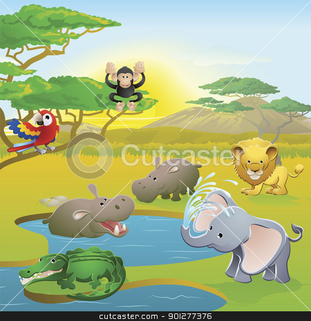 Cute African safari animal cartoon scene stock vector clipart, Cute African safari animal cartoon characters scene. Series of three illustrations that can be used separately or side by side to form panoramic landscape. by Christos Georghiou