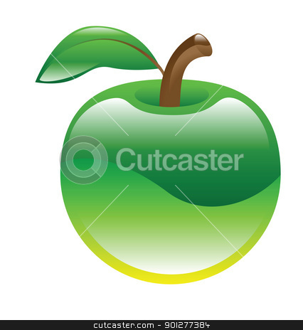 apple illustration stock vector clipart, Illustration of a green apple by Christos Georghiou