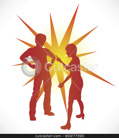 Couple Arguing stock vector clipart, A couple in silhouette having a heated argument. by Christos Georghiou