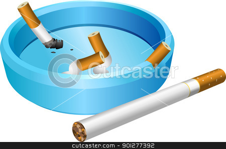 ashtray stock vector clipart, A vector illustration of an ashtray with cigarette butts  by Christos Georghiou