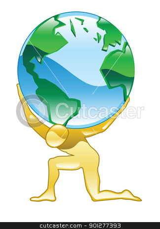 atlas Illustration stock vector clipart, Illustration of a person holding world globe of the earth by Christos Georghiou