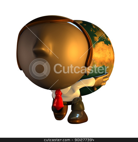 3d business man character carrying world stock photo, 3d render business man character holding or carrying the world or globe like atlas on his back or shoulders by Christos Georghiou