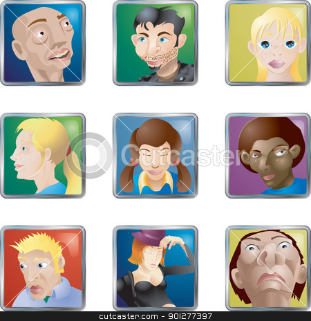 avatars stock vector clipart, Lots of illustrations of faces/ people/ avatars icons  by Christos Georghiou
