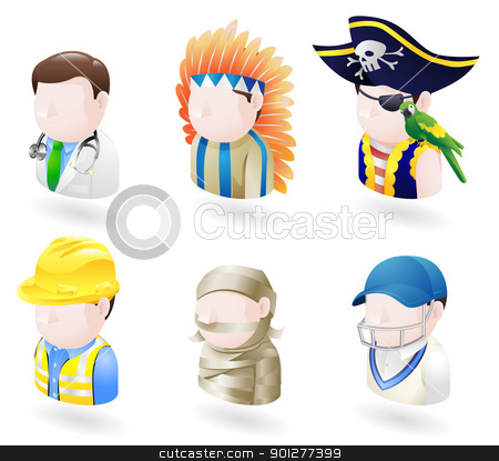 avatar people web icon set stock vector clipart, An avatar people web or internet icon set series. Includes a doctor, native American, pirate, builder or construction worker or engineer, a mummy and a cricket player, sports man. by Christos Georghiou
