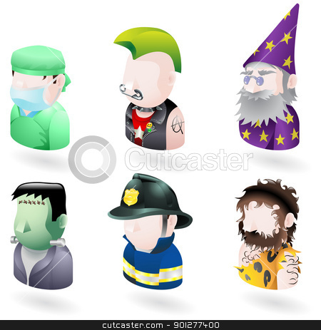 avatar people internet icon set stock vector clipart, An avatar people web or internet icon set series. Includes a doctor or surgeon, a punk, a wizard or magician, Frankenstein monster, a firefighter or fireman and a caveman.   by Christos Georghiou