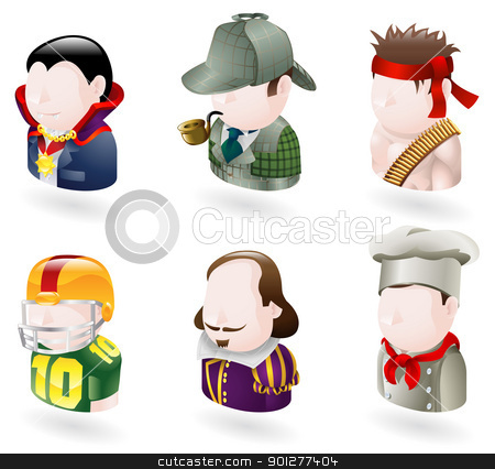avatar people web icon set stock vector clipart, An avatar people web or internet icon set series. Includes a vampire or count dracula character, a sherlock holmes character, a rambo character, an american football player, a shakespear character, and a chef or cook     by Christos Georghiou