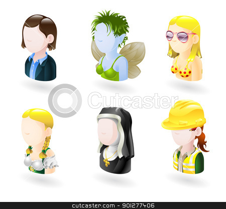 avatar people internet icon set stock vector clipart, An avatar people web or internet icon set series. Includes female characters of business woman, fairy or elf, bikini girl, german style waitress, nun and female engineer  by Christos Georghiou
