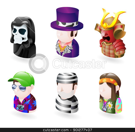 avatar people internet icon set stock vector clipart, An avatar people web or internet icon set series. Includes a grim reaper a pimp a samurai, a tourist and prisoner and a hippy by Christos Georghiou