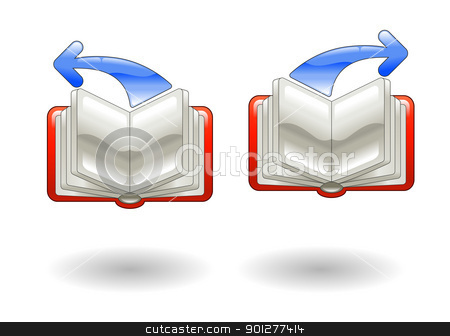 back forward page turning Illustration stock vector clipart, Illustration of books open with back and forward arrows by Christos Georghiou