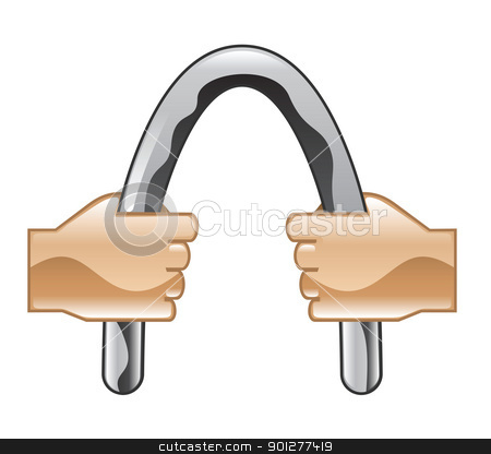 barbending Illustration stock vector clipart, Illustration of hands bending a bar by Christos Georghiou