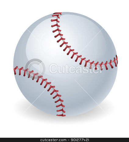 Shiny baseball ball illustration stock vector clipart, An illustration of a shiny baseball ball by Christos Georghiou