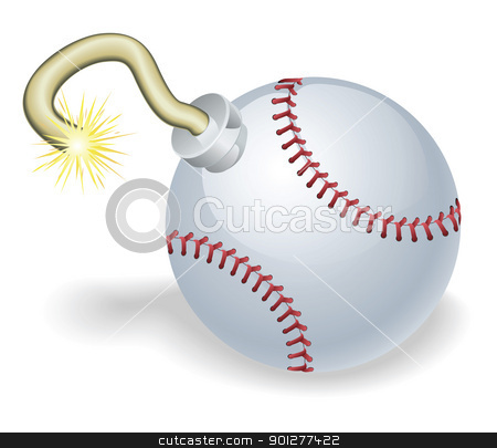 Baseball countdown bomb illustration stock vector clipart, Time bomb in shape of baseball ball concept. Represents countdown to explosive event or baseball crisis by Christos Georghiou