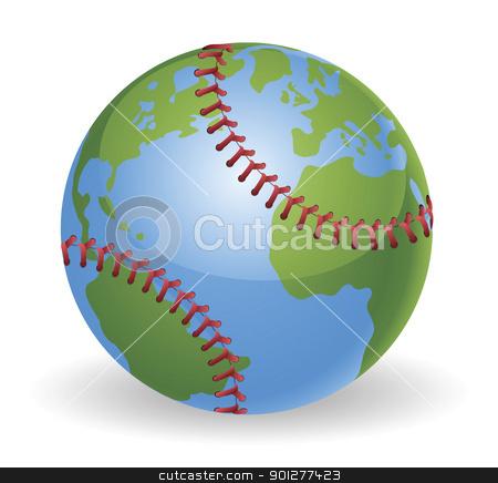 World globe baseball ball concept stock vector clipart, World globe baseball ball concept illustration by Christos Georghiou